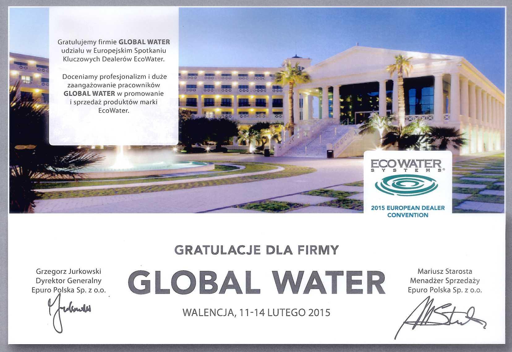 Global Water - dystrybutor na Polskę marki Ecowater